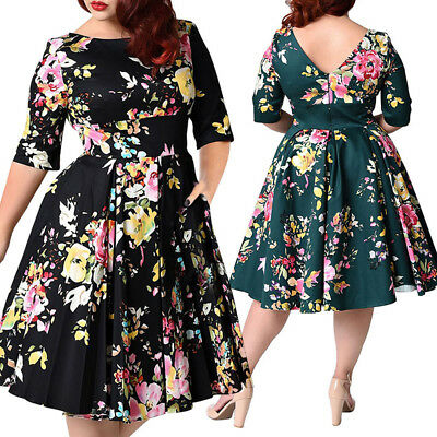 Plus Size Womens Vintage Half Sleeve Floral Evening Party Swing Dress 3XL-9XL