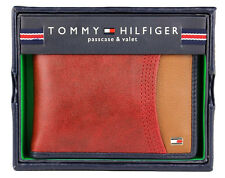 New Men's Tommy Hilfiger Leather Double Billfold Wallet 31tl220014 Red