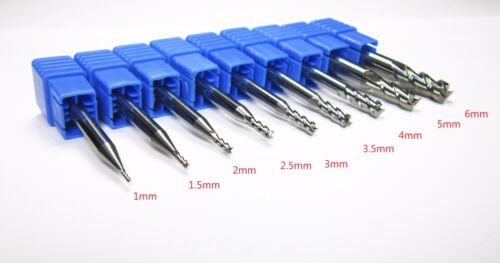 1mm 1.5mm 2 2.5mm 3 3.5mm 4MM 5 6MM HRC55 carbide end mills 3 flute for aluminum