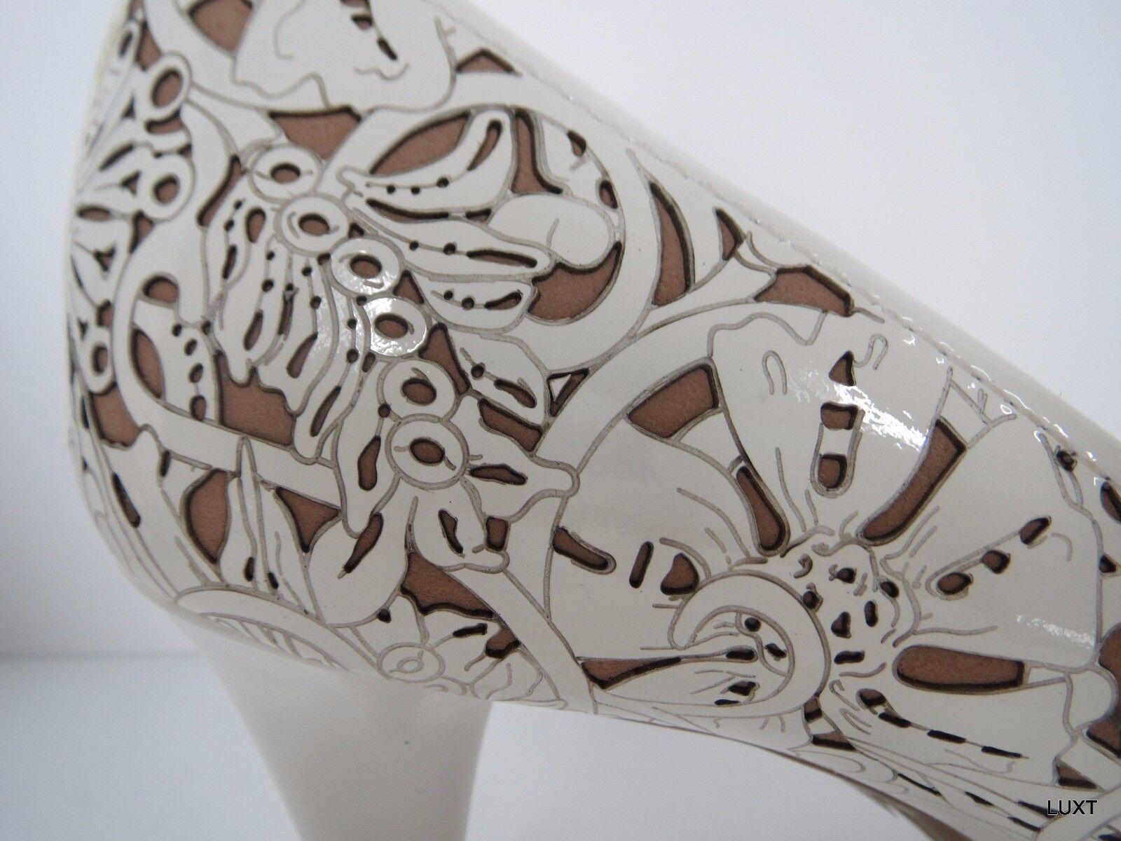 Pumpar från Prada klackar vit Patent läder Storlek 9.5 39.5 39.5 39.5 Floral Laser Cut Peep Toe  exklusiv