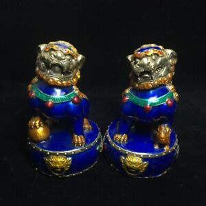 A-Pair-EXQUISITE-Old-Chinese-hand-made-Cloisonne-Copper-Lion-Foo-Dog-Statue