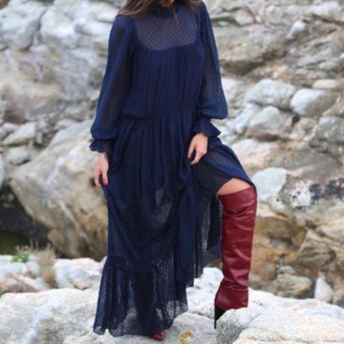 ZARA MAXI DRESS WITH WITH WITH SWISS DOTS Größe S, M REF 6189 230 | Gute Qualität  b199a2