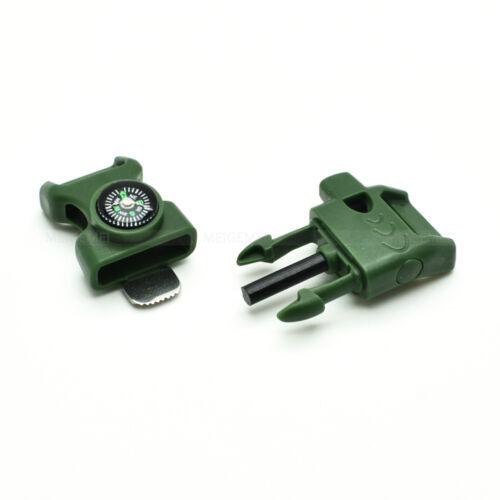 "5//8/"" Paracord Buckles Whistle Flint Fire Starter Striker Compass 15mm Webbing"