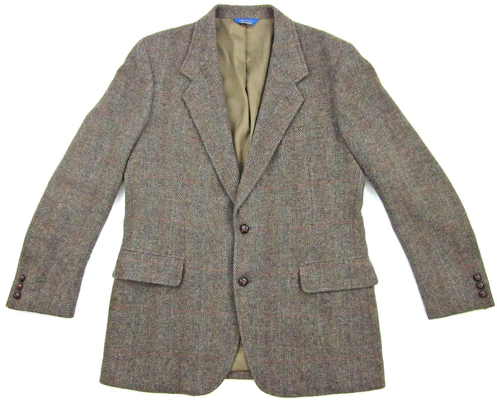 Pendleton Sports Coat Braun Herringbone Virgin Wool 44L Long Made in USA