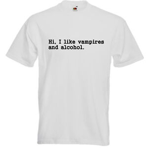 Vampires-And-Alcohol-Funny-Men-039-s-Unisex-T-SHIRT-Halloween-Horror-Music-Goth-Gift
