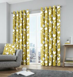 Grey Ochre Yellow Alabar Floral Fully Lined Eyelet Curtains Curtains & Pelmets