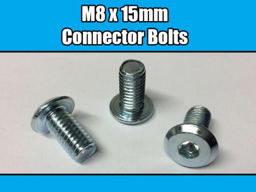 M8 x 15 mm Meubles Connecteur Boulons Clé Allen Tête Plate Joint Fixation Unité