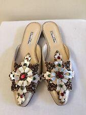 New w/o Box OSCAR DE LA RENTA Gold Leather Jeweled Mules Shoes 39/9