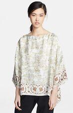 Eskandar Persian Animal Print Light Weight Silk 3/4 Sleeve Top (1) $990