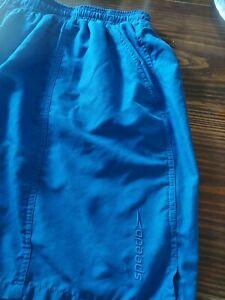 Speedo Mens XL Swim Trunks BLUE Shorts Mesh Lined Elastic waist