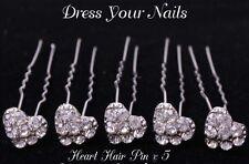 Heart Shaped Hair Pin Clear Crystal & Alloy Hairpin Bridal x 5  - DYN-HP-083