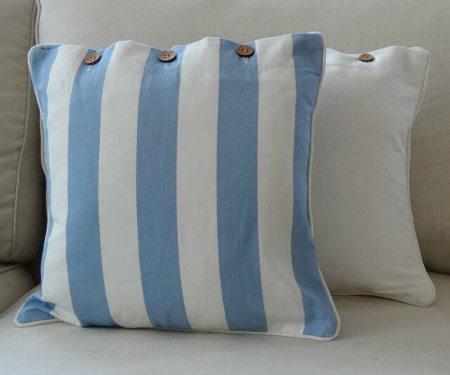 SCATTER, THROW CUSHION COVER, 'BAY STRIPE' PALE BLUE AND OFF WHITE