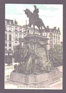 Lille-la-Statue-du-General-Faidherbe-Farb-Litho-AK