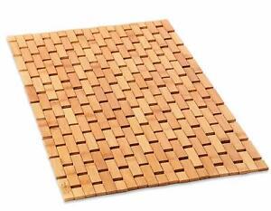Bamboo Wood Bath Mat Wooden Door Mat Kitchen Floor Rug ...