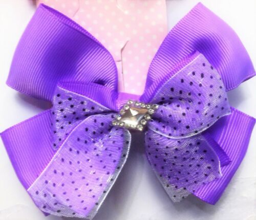 Ladies//girls crystal Diamante Rhinestone Grosgrain Ribbon Hair Bow Clip 3.5 INCH