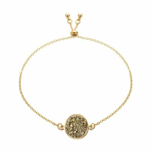 18K Gold Plated Bracelet Women Druzy Natural Geode Stone Bangles Jewelry Gift