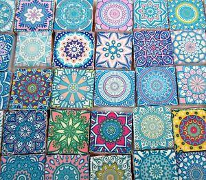 Ceramic Mosaic Tiles Pastel Pink Blue Medallions Moroccan Tile