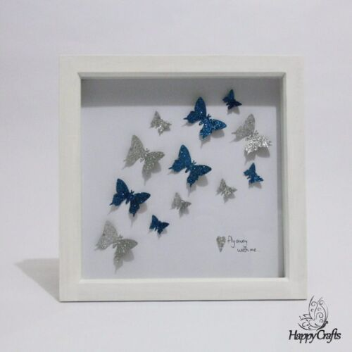 """Butterfly fly away with me flutter cadre photo blanc /& bleu sarcelle 10x10/"""""""