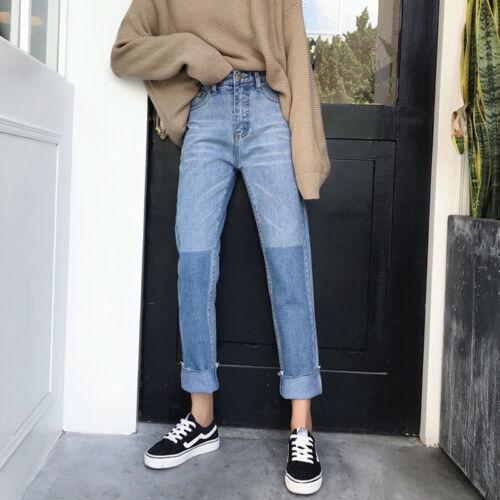 Vintage Womens Korean Color Block Jeans Denim High Waist Straight Pants Trousers