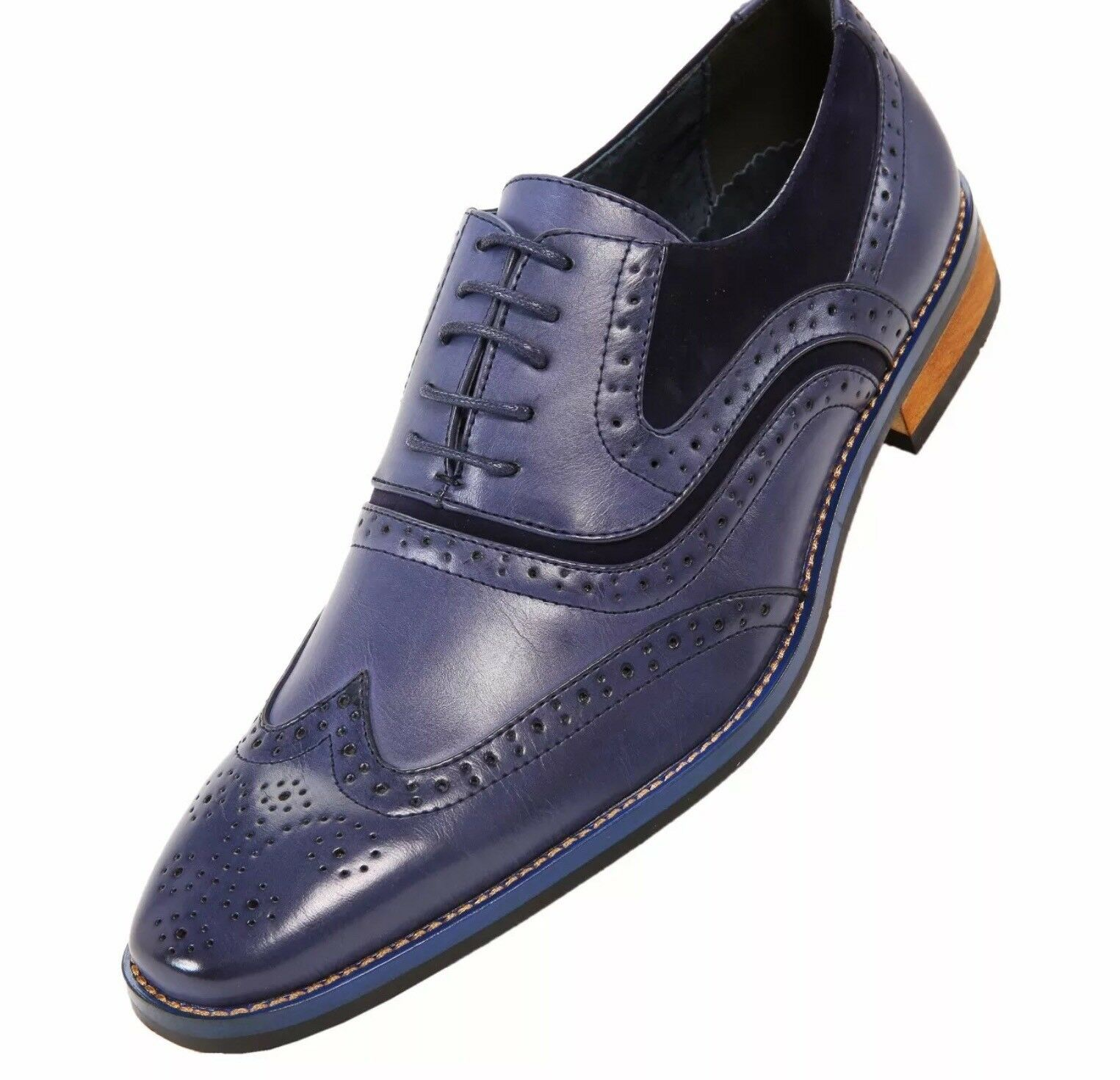 Amali Mens Classic bluee Smooth Man-made Microfiber Wingtip Oxford Dress shoesNEW