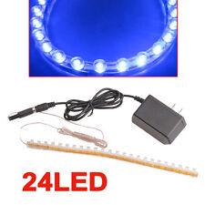 Aquarium Fish Tank Blue Moon Light 24 LED Strip Flexible Bar Strip Lamp + Power