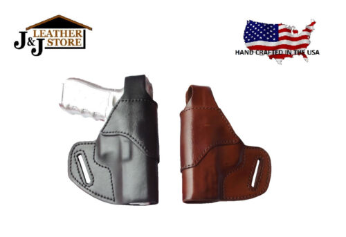 J/&J SPRINGFIELD XDS 45 9 3.3 OWB BELT CARRY FORMED LEATHER HOLSTER W THUMB BREAK
