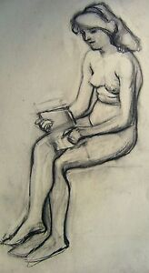 FIGURE-STUDY-STUDY-OF-A-SEATED-NUDE-READING-BOOK-PENCIL-CONTINENTAL-SCH-C1910