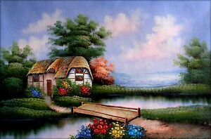Stretched-Pond-Side-Cottage-Hand-Painted-Oil-Painting-24x36in