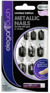 ELEGANT-TOUCH-FALSE-NAIL-TIP-METALLIC-BLACK-NOISE-SHORT-LENGTH-NAILS-TIPS-574