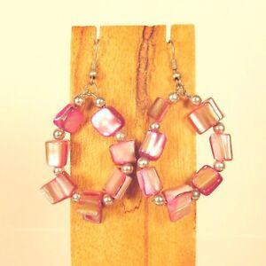 Wholesale-Lot-6-PCS-Handmade-Beaded-Shell-Chip-Hoop-Earrings-6-COLORS