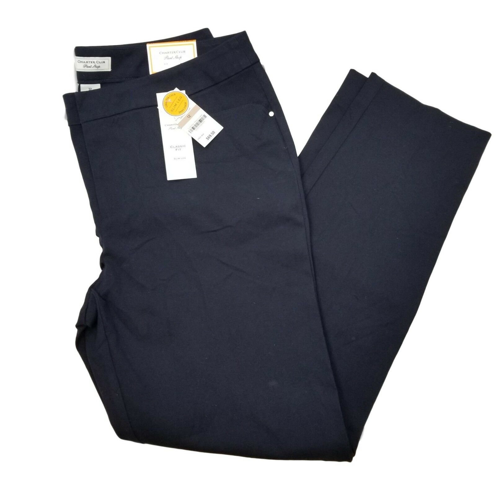 Charter Club Womens Pants Navy bluee Classic Fit Work Career Curvy Fit Size 12 NW