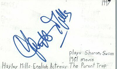 Sporting Hayley Mills English Actress The Parent Trap Movie Autographed Signed Index Card Evident Effect Movies