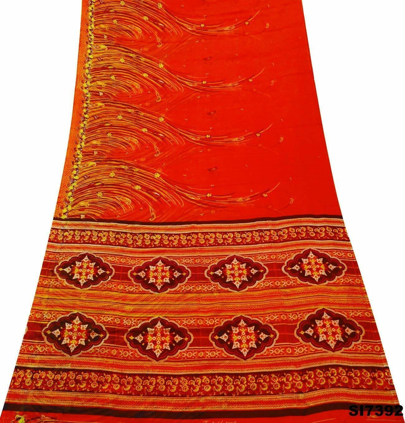 Modisch Jahrgang Saree Seide Mischung Stoff Blumen Orange Damen 5 Yd Sari SI7392