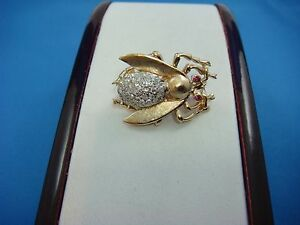 ANTIQUE-14K-YELLOW-GOLD-034-FLY-034-BROOCH-WITH-GENUINE-DIAMONDS-AND-RUBIES-8-GRAMS