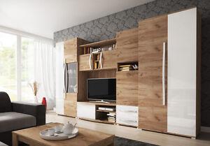 Das Bild Wird Geladen Wohnwand Mi Kleiderschrank 80 Cm Anbauwand Wohnzimmer  Set