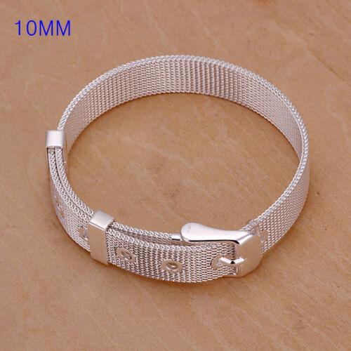 wholesale sterling solid silver 10 mm Watchband Bracelet jonc Hot boîte LFSB 237