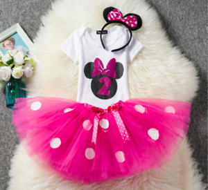 O57 Baby Minnie Mouse Hot Pink Girl 2nd Second Birthday Tutu Outfit Shirt Set
