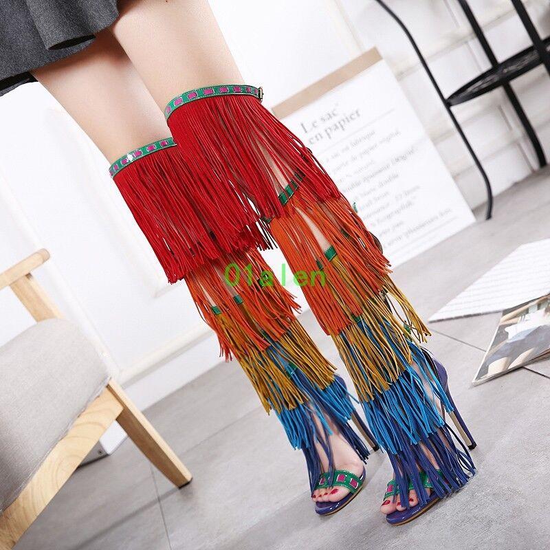 Boho New Womens Tassles Open Toe Over Knee High Sandal Boots Stiletto Heel Shoes