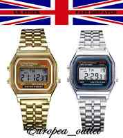 CLASSIC RETRO VINTAGE STYLE SILVER & GOLD UNISEX DIGITAL METAL LCD WATCH FASHION