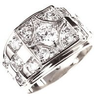 6mm 1.45 Ct April Clear Cz Birthstone Rhodium Men Ring Fashion Jewelry Size 10