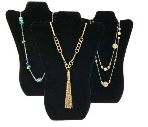 """THREE Black Velvet Necklace Pendant  Easel Display Stands Displays 14-3//4/"""" tall"""