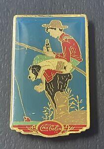 1987 Coca-Cola Coke Boy Fishing Fisherman Lapel Pin Back