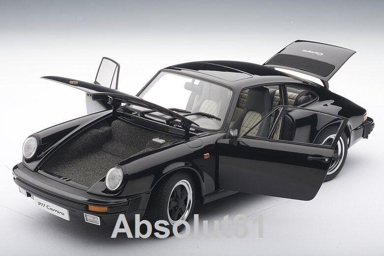 1 18 Autoart Porsche 911 carrera 3.2 1988 negro negro, 78013 nuevo & OVP rareza
