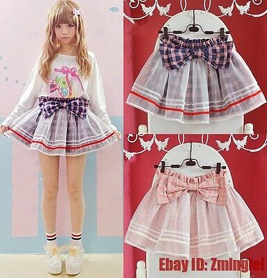 Princess Sweet Lolita Skirt Exclusive Big Bow Lovley Plaid Lace Skirt Under Pant