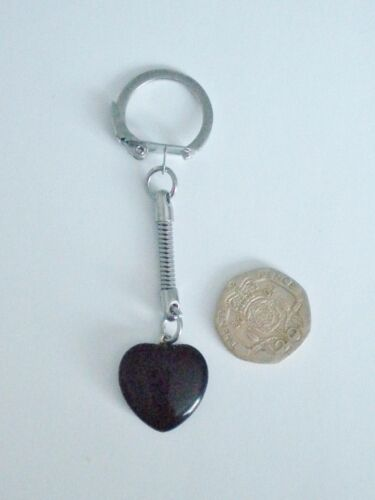 NEW RED//BROWN GOLDSTONE//GOLDSAND HEALING CRYSTAL GEMSTONE HEART KEYRING//KEYCHAIN