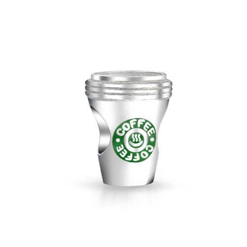 Sterling Silver Hot Drink Coffee Cup demi-Cof Moka for European Charm Bracelets