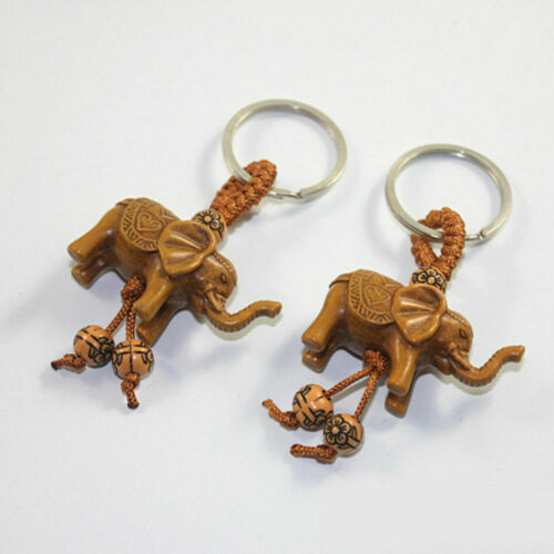 Lucky Elephant Carving Wooden Pendant Keychain Key Ring Evil Defends Gift CA 2h