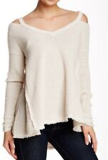 Free People 'Moonshine' Sweater Cream Small Cold Shoulder