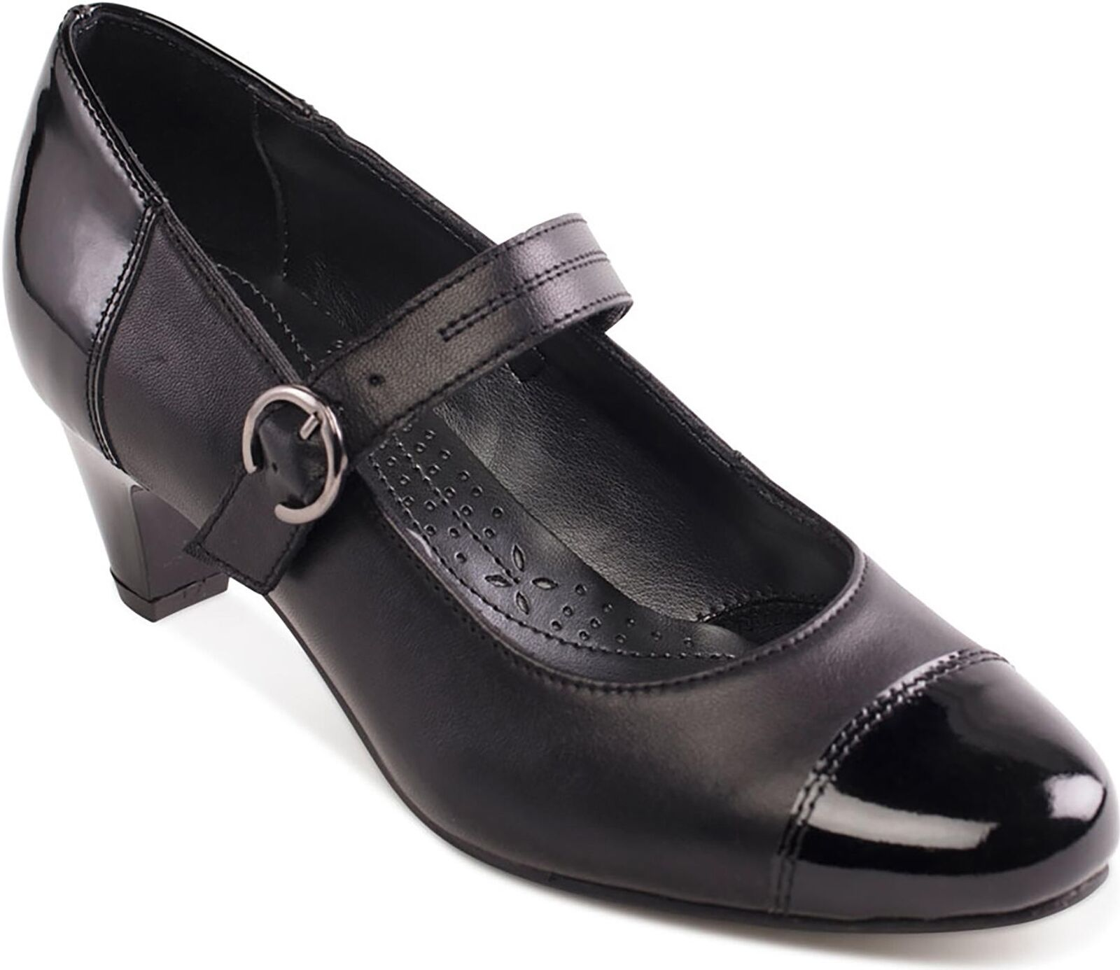 Padders JEAN Ladies Womens Leather Extra Extra Extra Wide (2E) Mary Jane Heeled shoes Black 7add9b