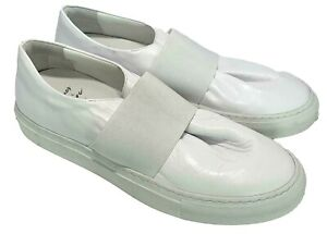 JACQUES SOLOVIERE MEN'S WHITE LEATHER SLIP ON SNEAKERS, 42, $486
